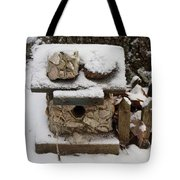 Birdhouse In The Snow Tote Bag