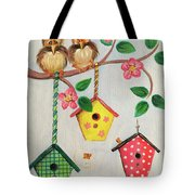 Birds And Birdhouse Tote Bag