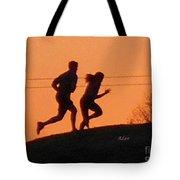 Birds And Fun At Butler Park Austin - Jogging - Sunset Run Tote Bag