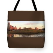 Birds And Fun At Butler Park Austin - Silhouettes 1 Panorama Tote Bag