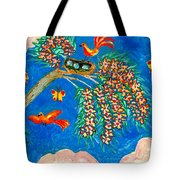 Birds And Nest In Flowering Tree Tote Bag