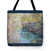 Birds Boaters And Bridges Of Barton Springs - Autumn Colors Pedestrian Bridge Greeting Card Poster Tote Bag