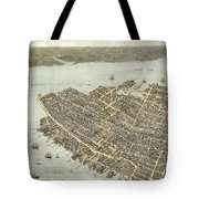 Birds Eye View Of Charleston 1872 Tote Bag