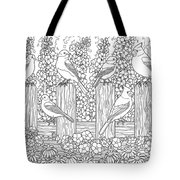 Birds In Flower Garden Coloring Page Tote Bag