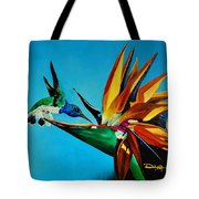 Birds Of Paradise With White Necked Jacobin Hummingbird Tote Bag