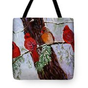 Birds On Branch In Snow Tote Bag