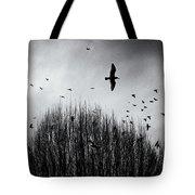 Birds Over Bush Tote Bag