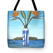 Birds Over Paradise Flowers Tote Bag