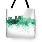 Birmingham Al Skyline In Green Watercolor On White Background Tote Bag