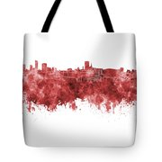 Birmingham Skyline In Red Watercolor On White Background Tote Bag