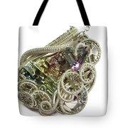Bismuth And Swarovski Crystal Steampunk Pendant In Sterling Silver - Stmbsm42 Tote Bag