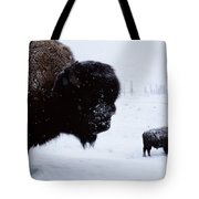 Bison Bison Bison In The Snow Tote Bag