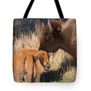 Bison Calf And Its Mother Tote Bag