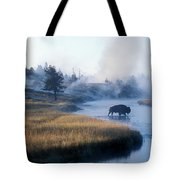 Bison Crosses The Firehole River Tote Bag