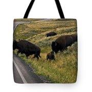 Bison Disrupting Traffic Tote Bag