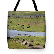 Bison Herd And Yellowstone River Tote Bag