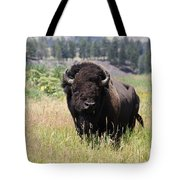 Bison In Grass Tote Bag
