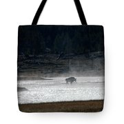 Bison In The River Tote Bag
