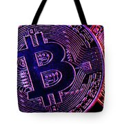 Bitcoin Coins In A Mysterious Lighting Tote Bag