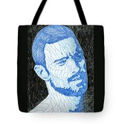 Black And Blue Man Portrait Tote Bag
