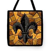 Black And Gold Fleur De Lis Triptych Tote Bag