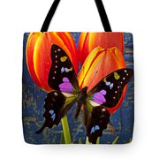 Black And Pink Butterfly Tote Bag