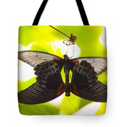 Black And Red Butterflies Tote Bag