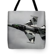 Black And White 18th Aggressor Sqn Viper Topside Against The Grey Tote Bag