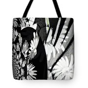 Black And White Abstract Floral Tote Bag