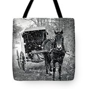 Black And White Amish Buggy Tote Bag