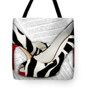 Black And White And Red All Over Tote Bag