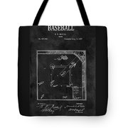Black And White Baseball Game Patent Tote Bag