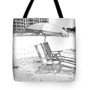 Black And White Beach Chairs Tote Bag