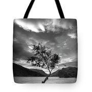 Black And White Beautiful Landscape Image Of Llyn Padarn At Sunr Tote Bag