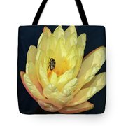 Black And White Beetle On Yellow Pond Lily Tote Bag