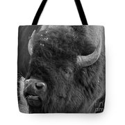 Black And White Bison In Heat Tote Bag