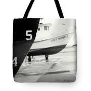 Black And White Boat Reflection Tote Bag