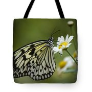 Black And White Butterfly On A Daisy Tote Bag