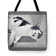 Black And White Cat Lounging Tote Bag