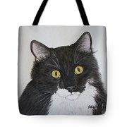 Black And White Cat Tote Bag by Megan Cohen