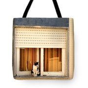 Black And White Cat On The Windowsill Tote Bag
