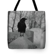 Black And White Crow On Gray Stone Tote Bag