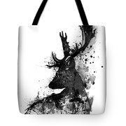 black and white deer head watercolor silhouette tote bag