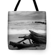 Black And White Driftwood At Whitefish Point Tote Bag