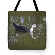 Black And White Duck Reflections Tote Bag