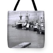 Black And White Fishing Boats On The Dock Tote Bag