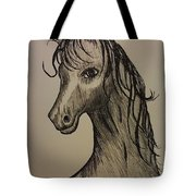 Black And White Horse Tote Bag by Ginny Youngblood