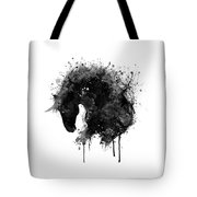 Black And White Horse Head Watercolor Silhouette Tote Bag