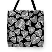 Black And White Leaf Abstract Tote Bag