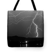 Black And White Massive Lightning Strikes Tote Bag